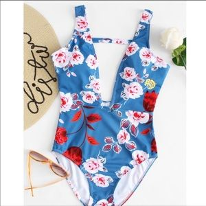 Blue Floral Deep V One Piece Swimsuit